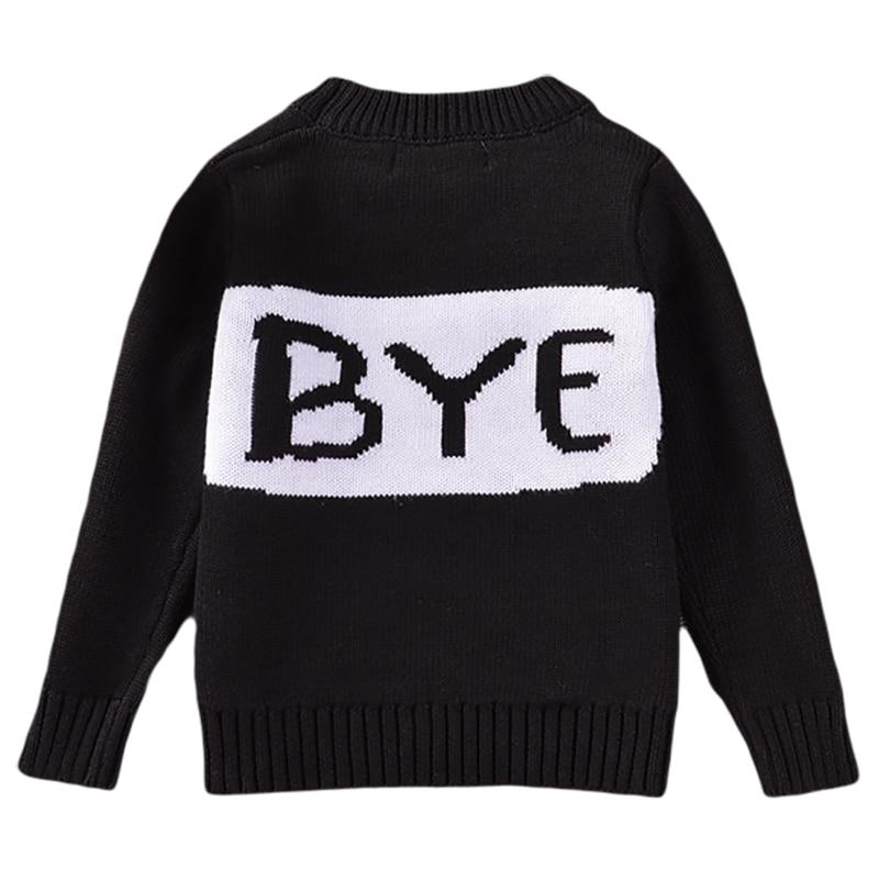 Anya lánya divat pulóver 2018 új levél nyomtatás fekete kötött - Gyermekruházat - Fénykép 3