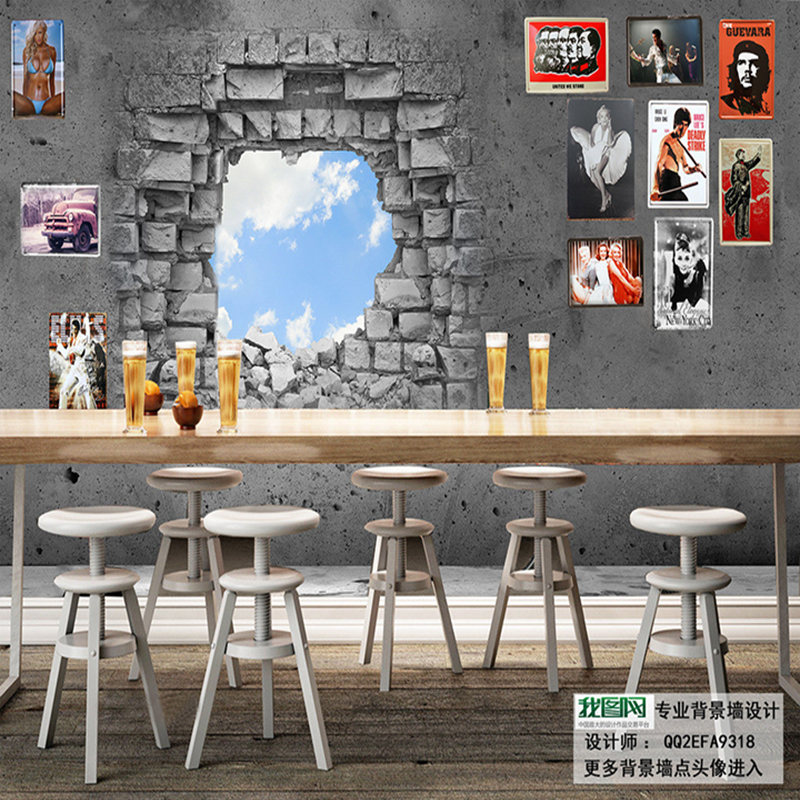 Bar Wallpaper: Large 3D Creative Wallpaper Sky Broken Brick Mural