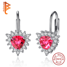 2017 Fashion Red Zirconia Crystal Stones Love Heart Earrings Jewelry 925 Sterling Silver Stud Earrings for Women Female Bijoux