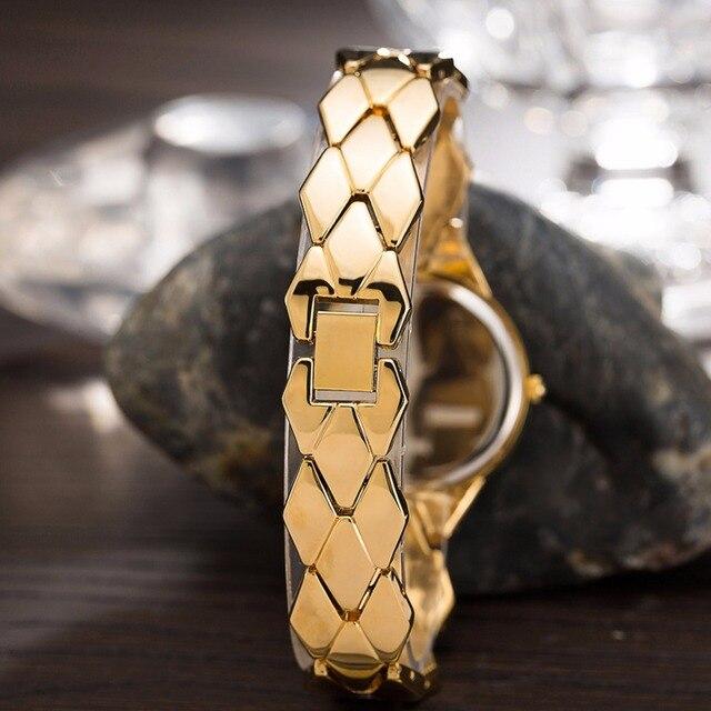 CUSSI 2018 New Womens Watches Gold Luxury Rhinestone Ladies Bracelet Watches Fashion Dress Quartz Wristwatch reloj mujer Gifts