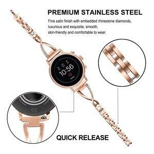 Image 2 - Paslanmaz Çelik + Elmas Kordonlu Saat 18mm Fosil kadın Gen 4 Girişim HR/Gen 3 Q Girişim saat kayışı Gül Altın Kayış Kemer