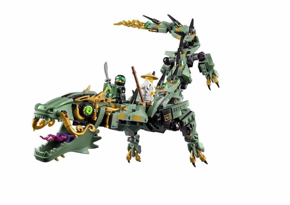 New 10718 Ninja series The Green Ninja Mech Dragon Model Building Blocks Compatible <font><b>70612</b></font> classic education Toys for children image