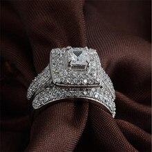 Größe 5,6, 7,8, 9,10 majestätischen sensation frauen 14kt weißes gold gefülltes quadrat simuliert diamant 134 stücke cz gepflasterte wedding ring sets