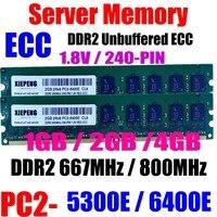 RAM servidor 2GB DDR2 667MHz PC2 5300 UDIMM ECC 2GB 2Rx8 PC2 6400E DDR2 800 PC2 6400 Unbuffered 4GB de Memória|RAM| |  -