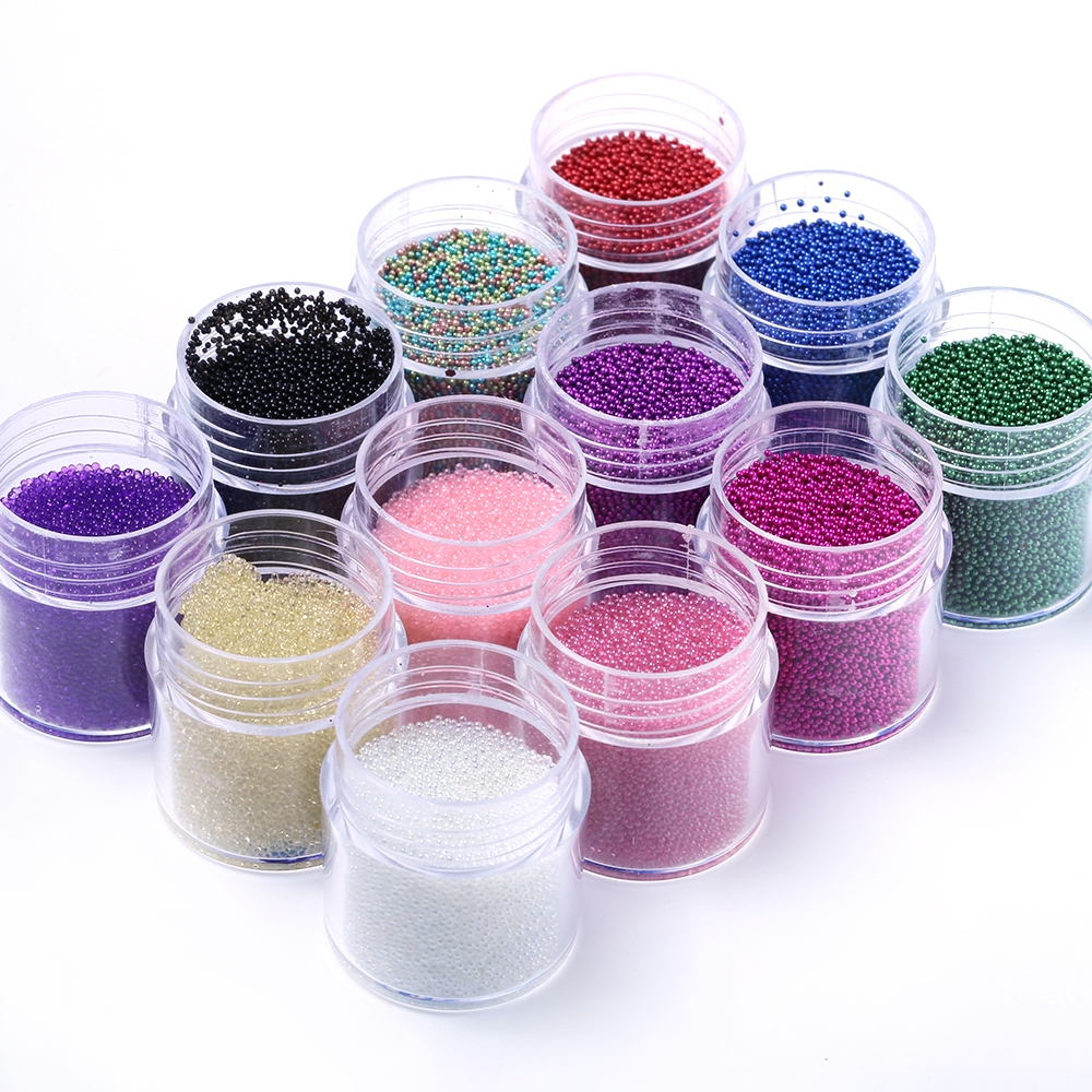 1 Box Nail art mini caviar beads Rhinestone for Nails Colorful pixie microbeads decoration Crystal for nail 0.6-0.8-1.0mm