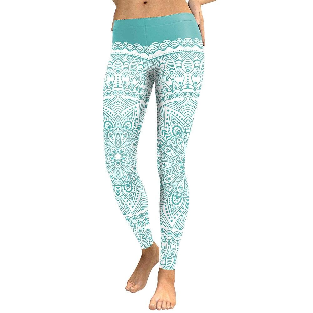Acheter JIGERJOGER 2017 nouveau 3D numérique impression Menthe Vert Art Mandala Leggings taille Basse band Sportive Pantalon Gym compression cheville pantalon de pants gym fiable fournisseurs