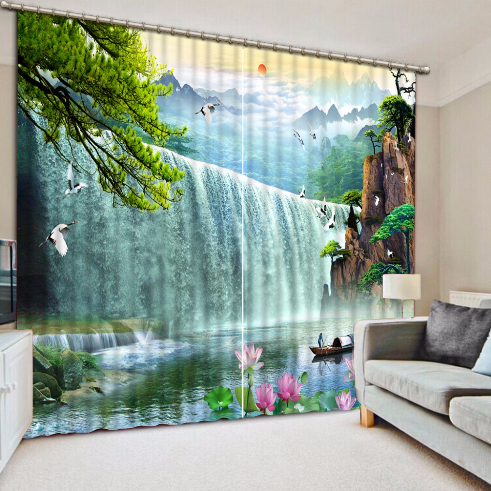 3D Waterfall landscape 2018 Modern Curtains For Living Room Europe Style 100% Blackout Curtains Window3D Waterfall landscape 2018 Modern Curtains For Living Room Europe Style 100% Blackout Curtains Window