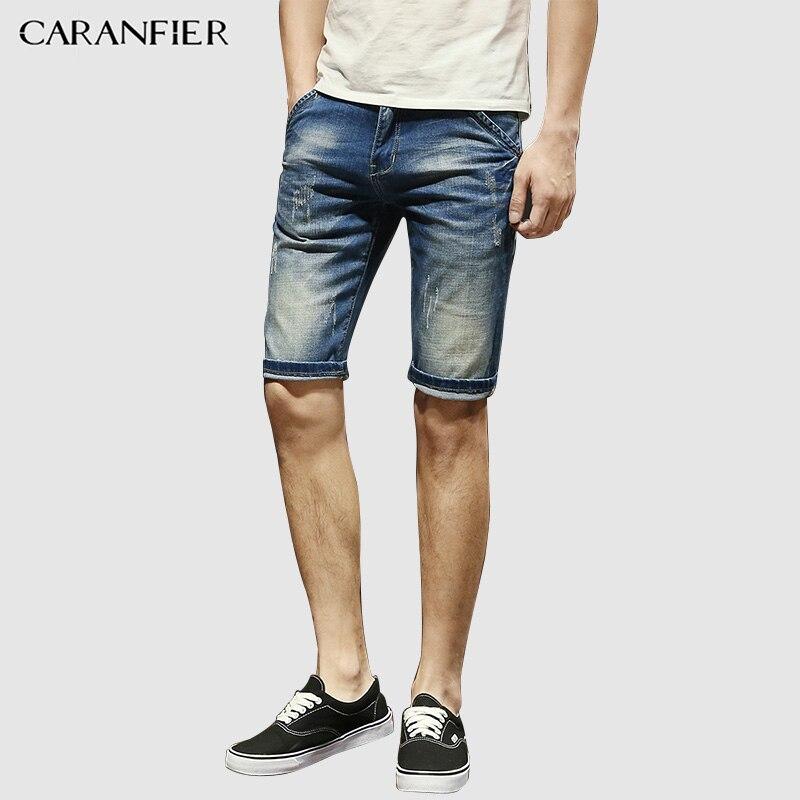 CARANFIER Jeans Men Summer Shorts Trend Denim Men Wild High Quality Classic Pants Fashion Solid Color Casual No Bleaching Pants