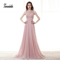 Vinca Dark Pink Chiffon Sexy A Line Prom Dresses Sheer Neck Floor Length Party Gowns Custom