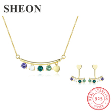 SHEON Authentic 925 Sterling Silver Luxury Multicolor Crystal Pendant Necklace Earrings Jewelry Set Sterling Silver Jewelry Gift dreamcarnival 1989 luxury 925 sterling silver drop shape pendant necklace earrings set white cz women wedding gift set sn07416r