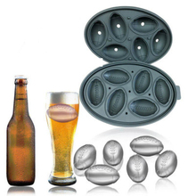 6 Grids 3D Football Shape Silicone Ice Cube Mold Whisky Wine DIY Tray Makers Chocolate Mould Bar Party Kitchen Tools