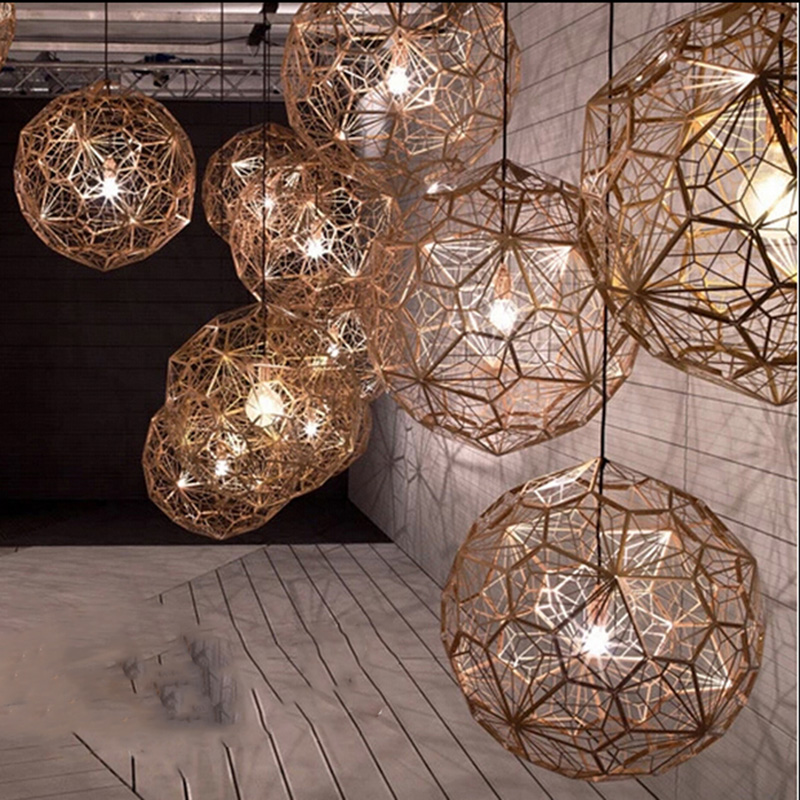6 Sizes New Modern Pendant Lamp Designer Replica Copper pendant light Etch Web Brass Pendant Lamp Hot silver gold art lamps E0626 Sizes New Modern Pendant Lamp Designer Replica Copper pendant light Etch Web Brass Pendant Lamp Hot silver gold art lamps E062
