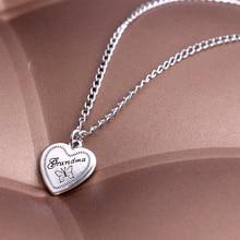 Bespmosp Vintage Grandma Gift Butterfly Heart Statement Necklace Pendant Jewelry