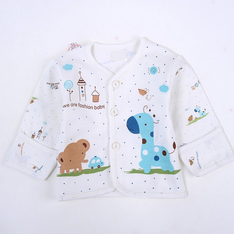 5 Pcs Hot Sale Newborn Baby Cotton Cartoon Monk Tops Shirt Pants Bib Hats Infant Clothes