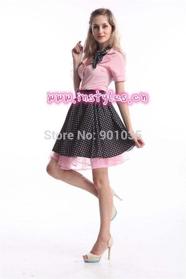 Free Shipping 1950s Grease Rock N Roll Bopper Fancy Dress Costume ZY274