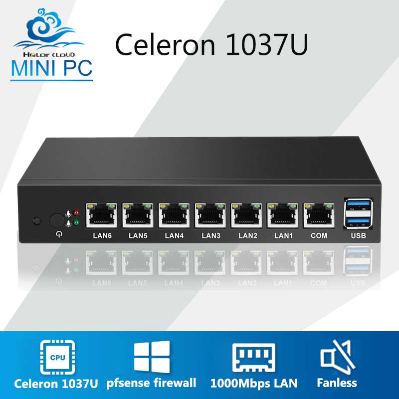 Mini PC 6 Ethernet LAN Router Firewall Prosesor Intel Celeron 1037U Pfsense Desktop Industri PC VPN Windows 7 24 Jam