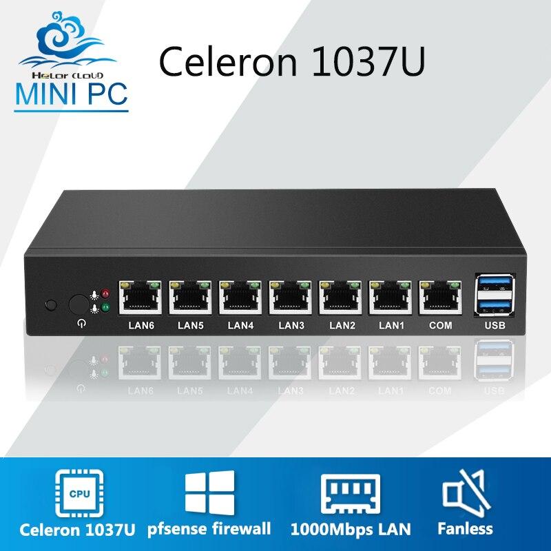 Mini PC 6 Ethernet LAN routeur pare-feu Intel Celeron 1037U pfSense bureau industriel PC VPN Windows 7 24 heures de travail