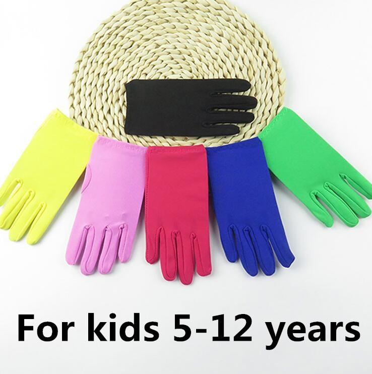 Children's Boy Girl Thin Elastic Candy Color Glove Kids Dancing Performance Etiquette Glove R1235
