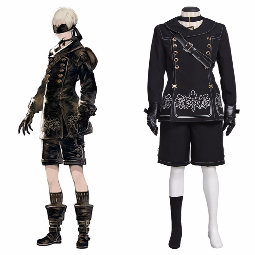 Halloween Costumes Nier Automata Cosplay Costume YoRHa No. 9 Model S 9S Embroidery Costumes For men and boys