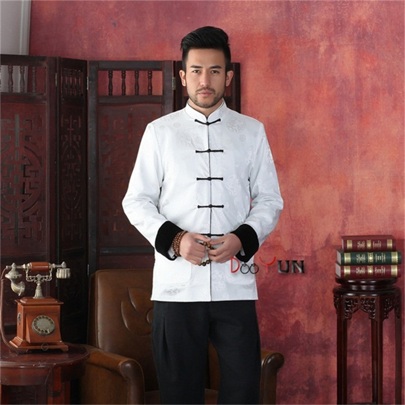 Discount Black White Men's Long sleeve Two-Face Jacket Kung Fu Coat Velour Tang Suit Size S M L XL XXL XXXL Free Shipping fashionable cat ear design solid color top hat for unisex