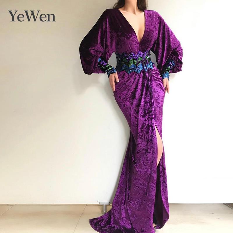 Purple V-neck Vestidos De Fiesta De Noche Mermaid Princess   Evening     Dresses   High Bifurcate   Evening     Dress   2019 Robe De Soiree