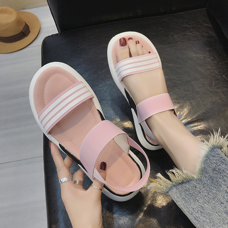 Casual sandals female summer thick bottom simple 2019 new students wild retro flat sandals tide 26
