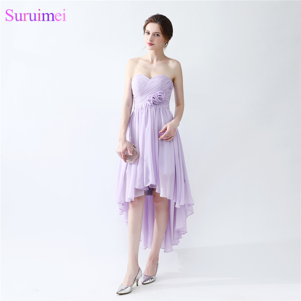 Beach   Bridesmaid     Dresses   Lavander Corset With Handmade Flower Tea Length Chiffon Brides Maid   Dress