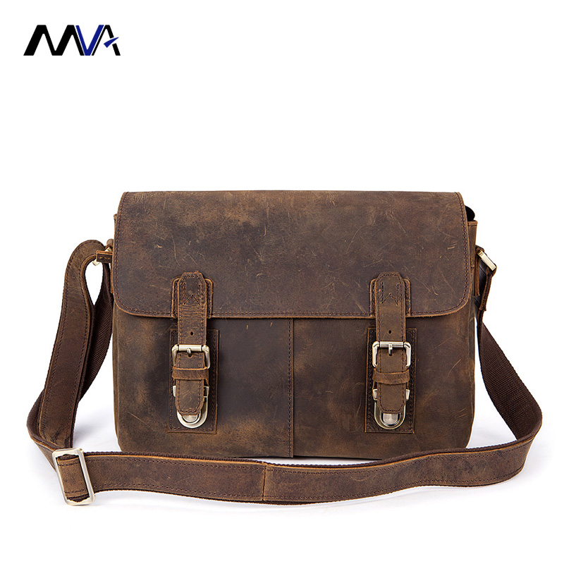 MVA Genuine Leather Men Briefcases Vintage Genuine Leather Men Crazy Horse Leather Briefcase Messenger Bag 14'' Laptop Portfolio цена и фото
