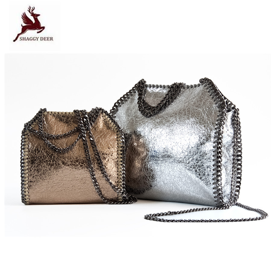 2018S/S New Shaggy Deer Luxury Crossbody Crack PVC 18/25cm Luxury Shiny Star Heavy Chain falabellas Handbag