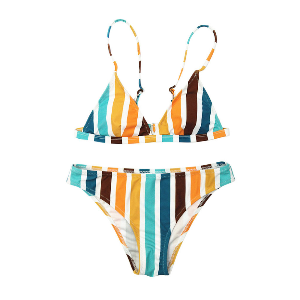 Brazilian rainbow striped bikini