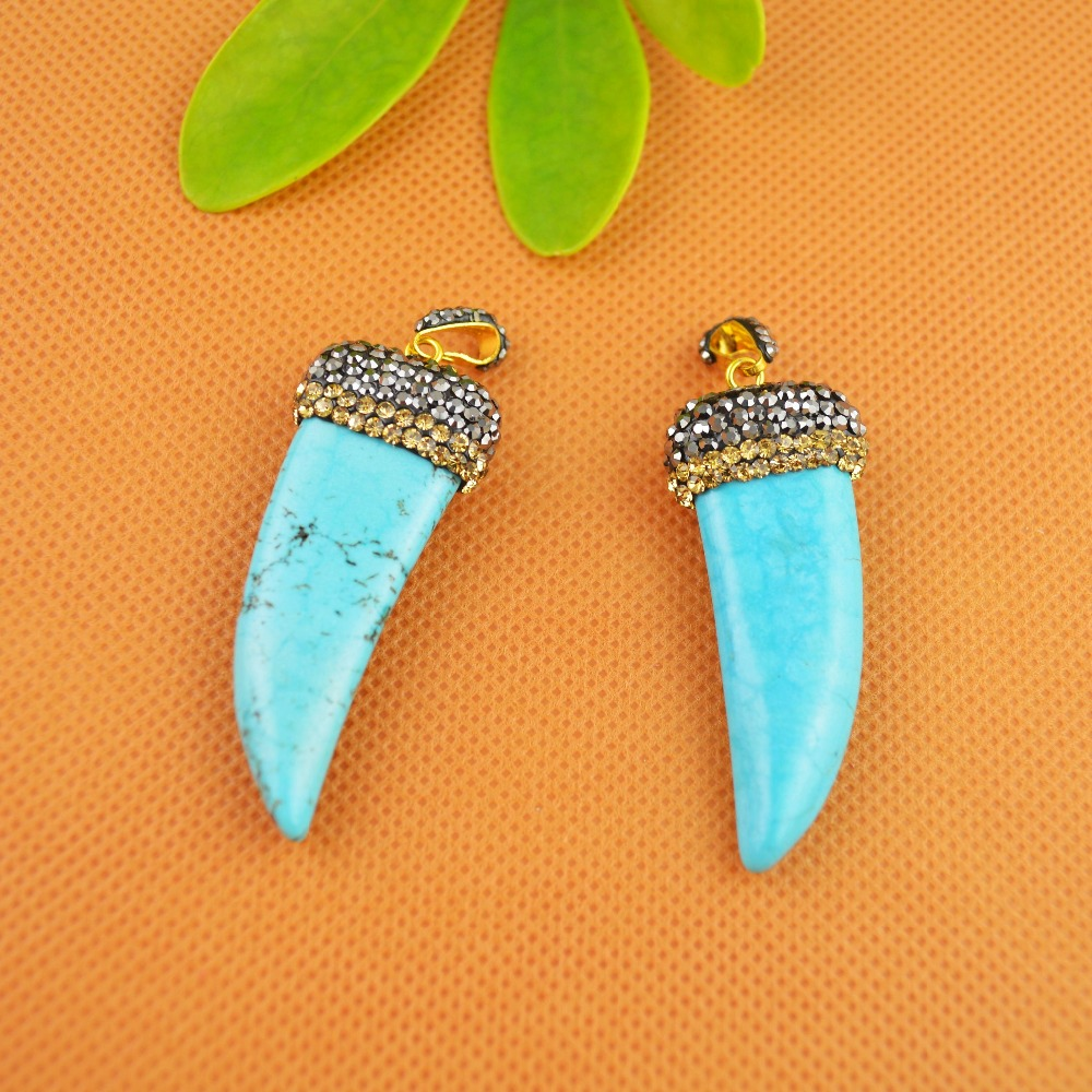 Fashion 5Pcs Druzy Blue Howlite Turquoise Stone With Shiny Rhinestone Crystal Dagger Charms Pendants For Necklace Jewelry Making