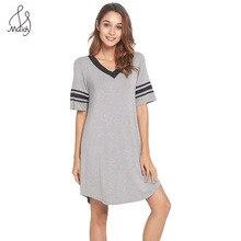 Maidy Women Fashion Nightgown Bamboo Fiber V-Neck Striped Short Loose Nightdress Lounge Dress Female Night Sleeping