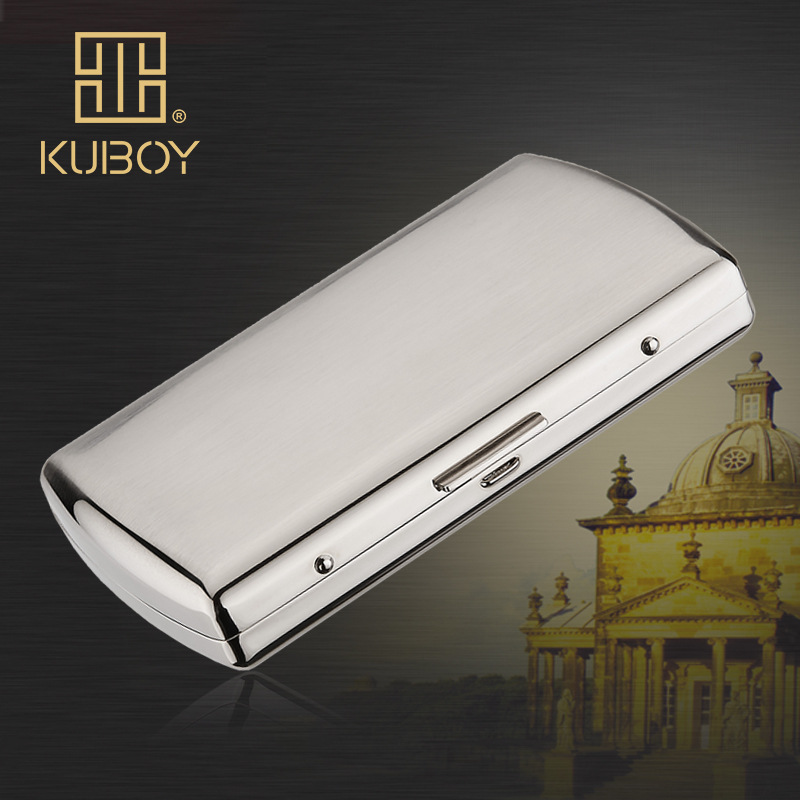 High Quality KUBOY Thick Nickel Wire Drawing Plating Stainless Steel Cigarette Box 12PCS Smoke Creative Cigarettes Case -KC7-01