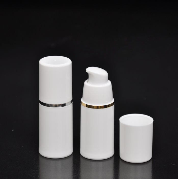 100pcs/lot PP white empty airless vaccum pump bottle 15ml  with silver/gold border-in Refillable Bottles from Beauty & Health    1
