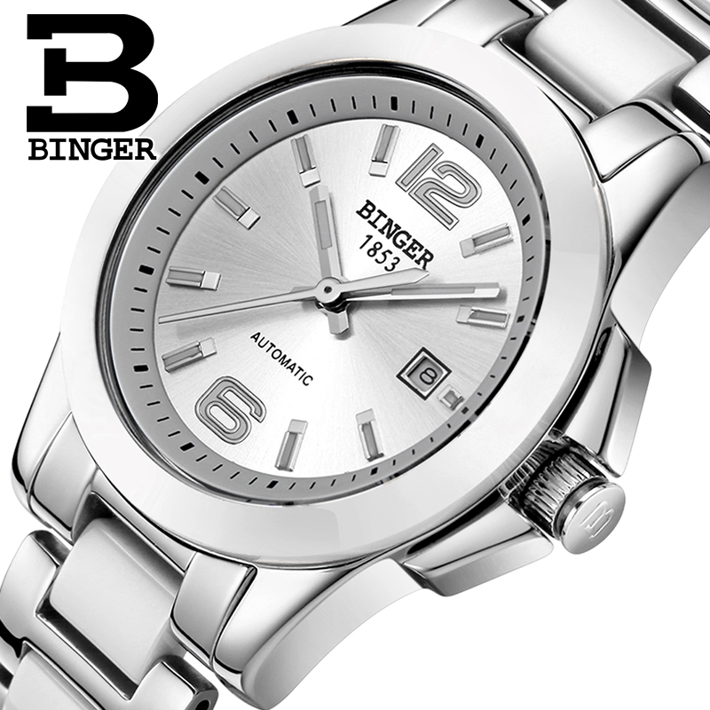 Switzerland luxury brand BINGER Mechanical Wristwatches Ceramic font b women s b font font b watches