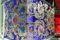 Chinese Traditional Brocade 75CM Polyester Sapphire Blue Back With Red Gold Lake Blue Leaf And Bigest