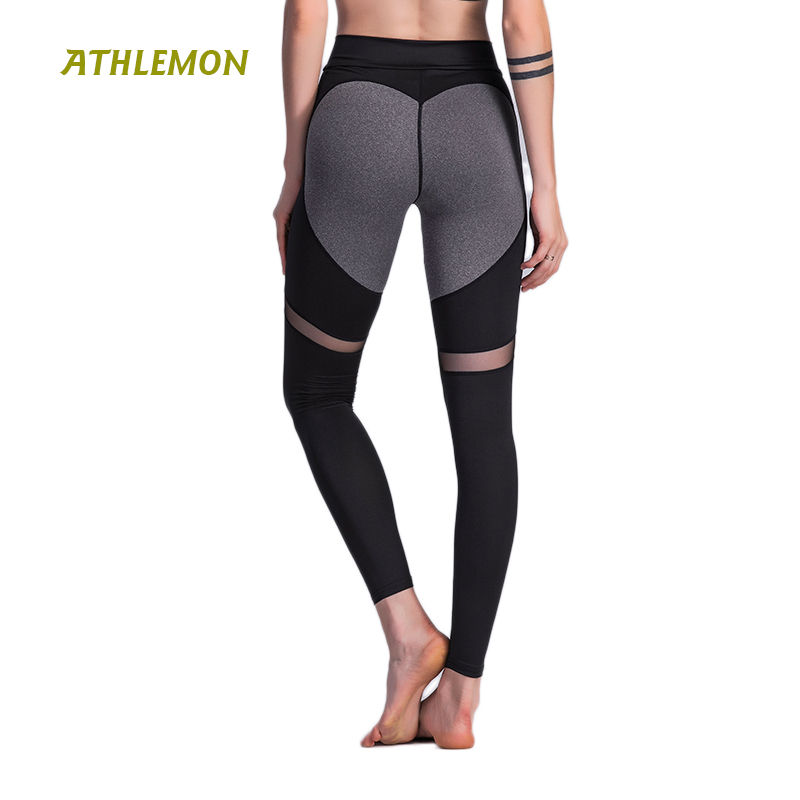 Athlemon 2018 New Yoga Leggings For Women Elastic Patchwork Bodybuilding Slim Gym Legging Trousers Pants Tight Fitness Legging