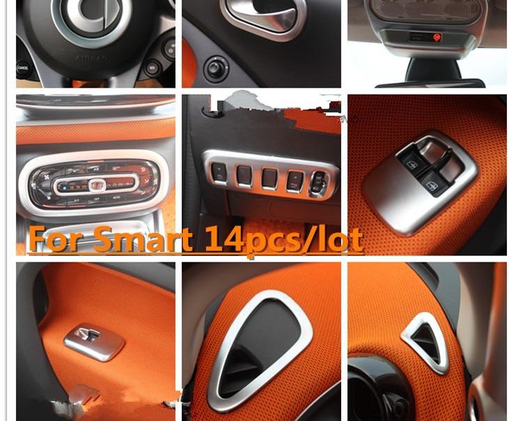 14pcs lot silver car interior styling covers for 2 doors mercedes benz smart fortwo 0 9t 1 0l. Black Bedroom Furniture Sets. Home Design Ideas