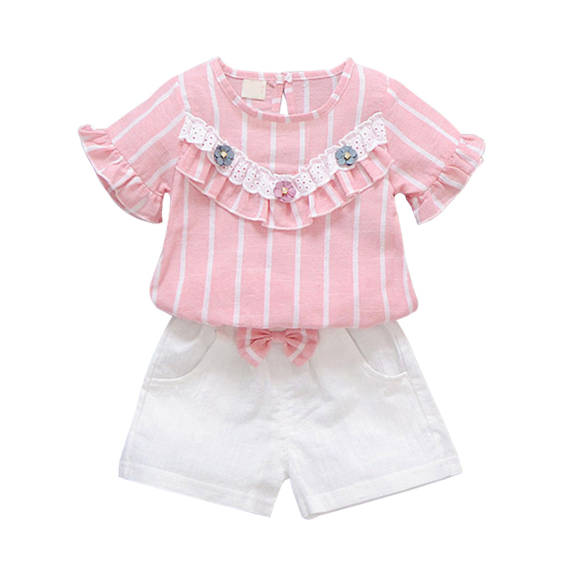 Baby Girls Clothes Set 2PCs Short Sleeve Striped Tops+Shorts Cute Kids Clothes Children Clothing Set 1-4T