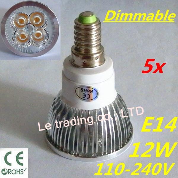 5pcs/lot Hot selling Dimmable E14 4X3W 12W Spotlight Led Lamp Led Light 110V-240V Led Bulbs Free shipping