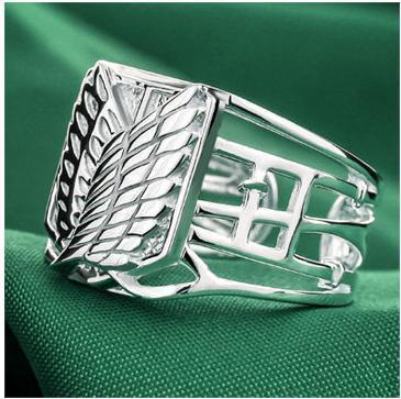 Japanese Anime Attack on Titan Scouting Legion 925 Silver Ring Wings of Liberty Ring- Free Shipping Wholesale