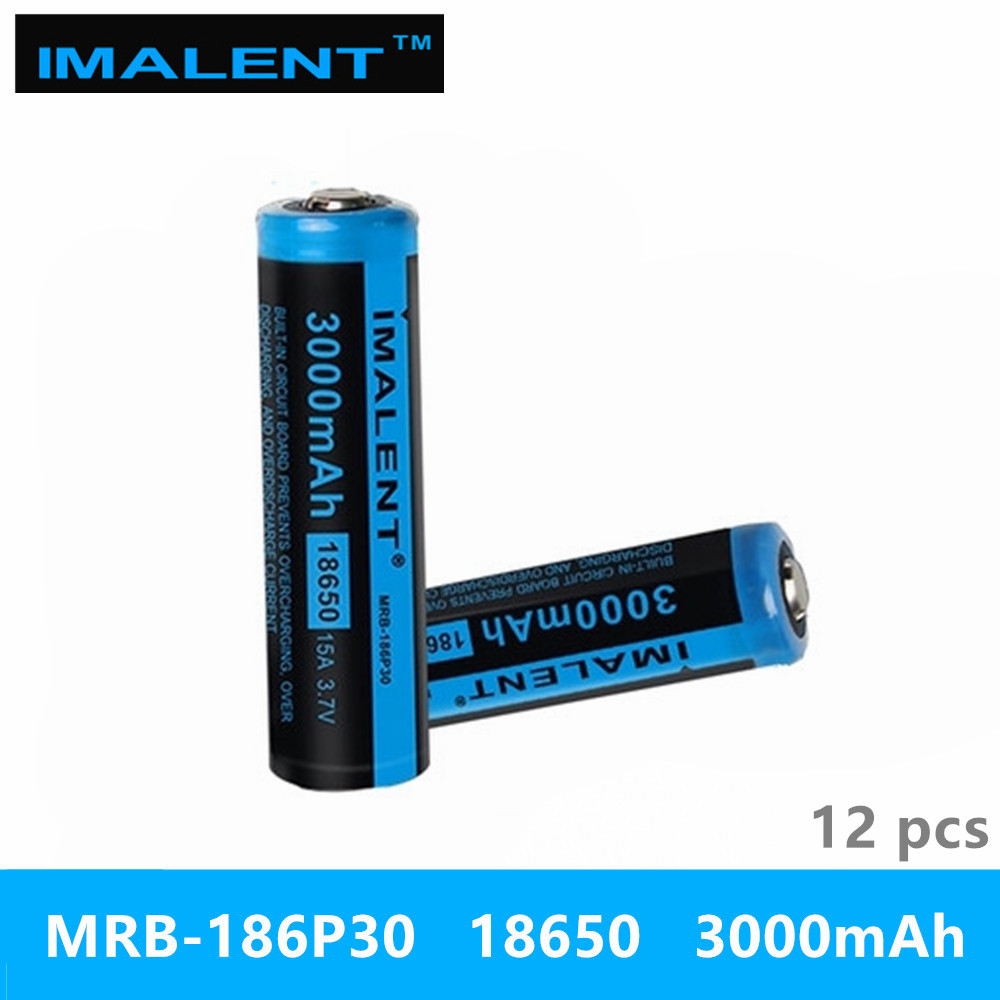 12pcs IMALENT MRB 186P30 3 7v 18650 3000mAh 15A Li ion rechargeable battery high performance for