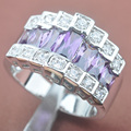 Unique Purple Cubic Zirconia For Women Silver Jewelry Rings Free Shipping Size 6 7 8 9 E098
