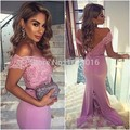 Vestido de festa backless 2017 mermaid v-neck cap mangas curtas laço de cetim rosa longo mulheres vestidos prom evening dress