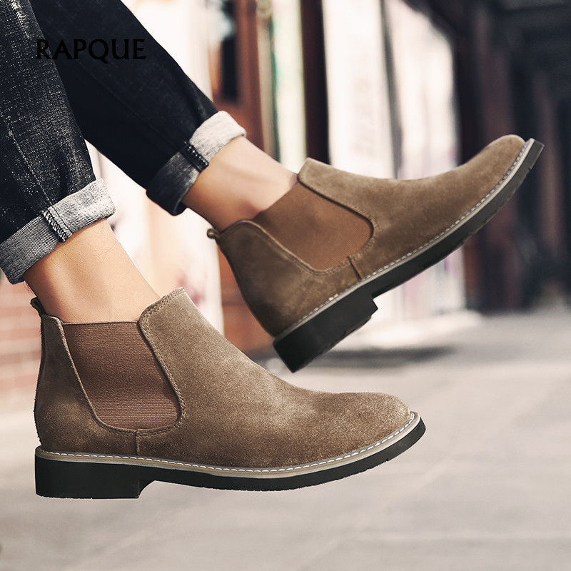 Chelsea Boots Men Leather Cow Suede Ankle Shoes Male Classic England Style Mens Boots Fashion Comfortable Black Brown Gray