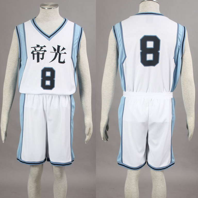 Kuroko no Basuke Basket TEIKO 2nd white school basketball suit mens uniforms boys sport clothes No.8 Kise Ryota cosplay costume