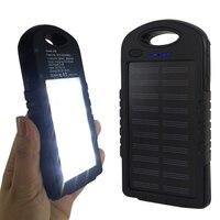 Antidetonante Caso Del Cargador de Batería Externa 8000 mAh Panel Solar la Energía Solar para el iphone 8 plus 8 X con LED Campamento SOS luz