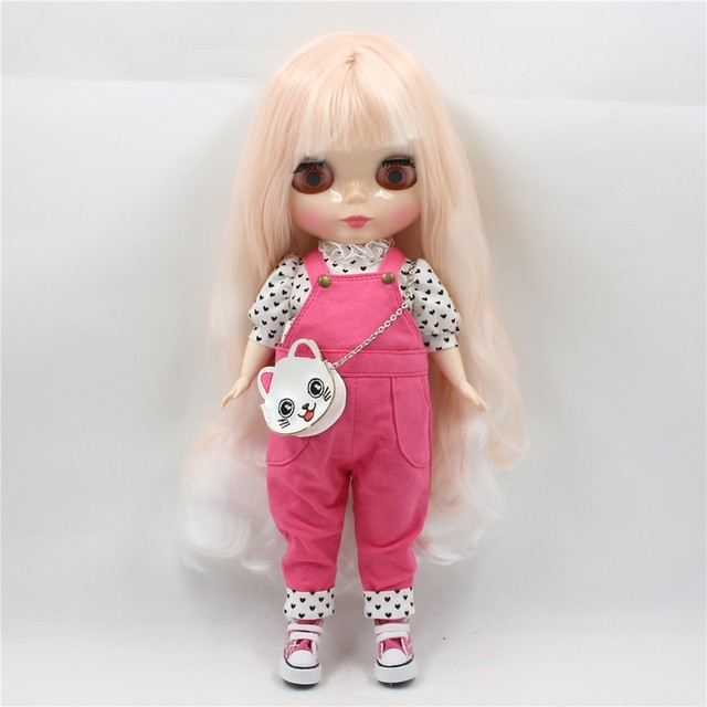 Blyth Plump Doll Fat Body 30cm Pink Suit with cat Bag Free Shipping