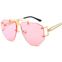 Retro Pink Rimless Sunglasses Women Vintage Red Hexagon Sun Glasses Fashion lunette soleil femme gafas de sol mujer