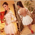 fashion white mini cocktail dresses 2017 backless appliques lace long sleeve short coctail gown for formal prom party
